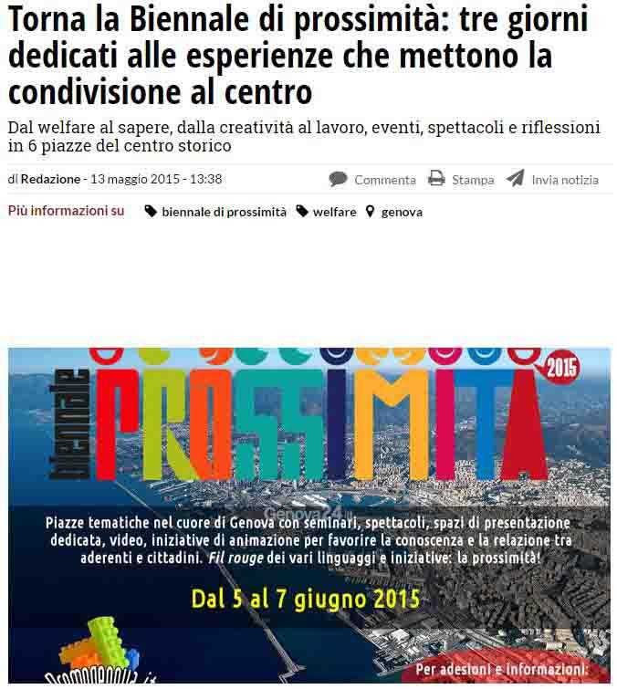 13 Maggio - Articolo sulla Biennale su Genova 24