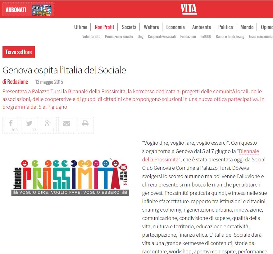13 Maggio - Articolo sulla Biennale su Vita