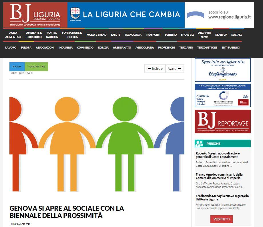04 Giugno 2015 - Articolo sulla Biennale su BJ Liguria