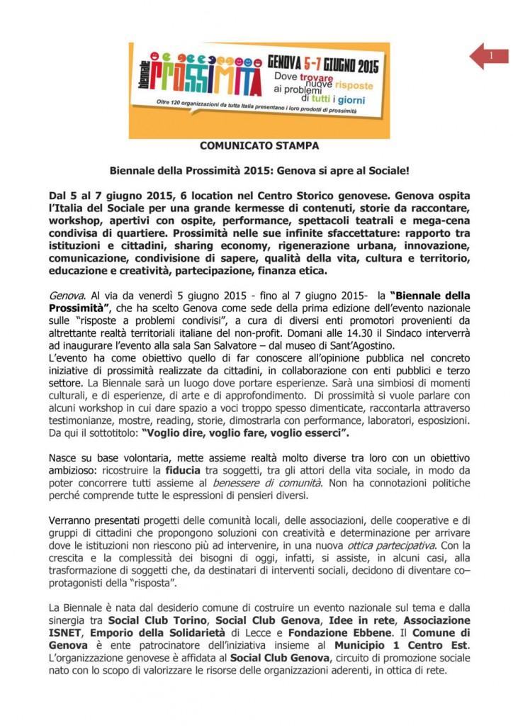 5 Giugno - Comunicato stampa: Biennale della Prossimità 2015: Genova si apre al Sociale!