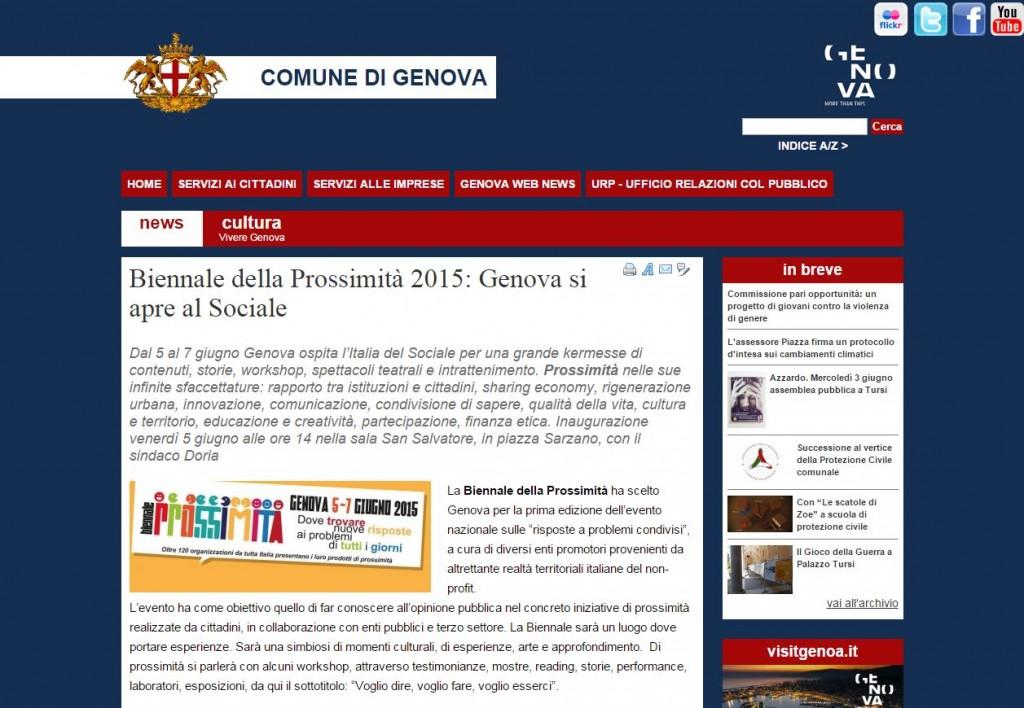 4 Giugno - Si parla della Biennale sul sito del Comune di Genova
