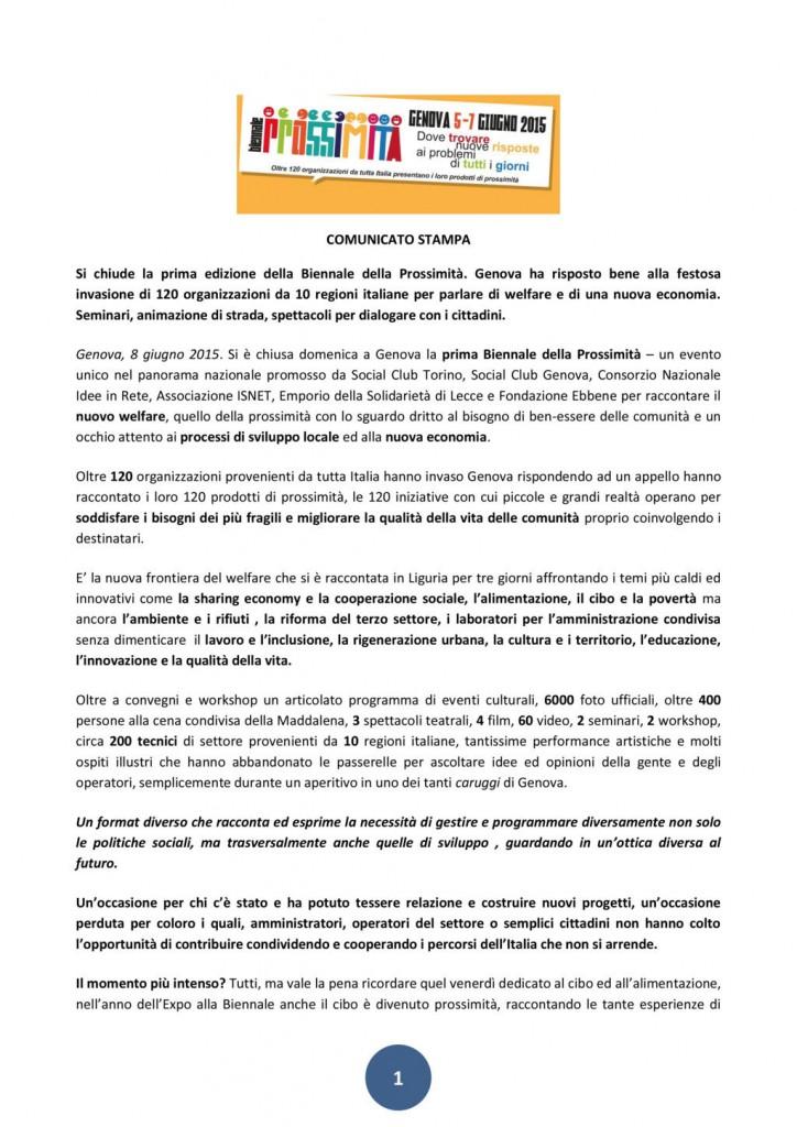 08 Giugno - Comunicato stampa: Si chiude la prima edizione della Biennale della Prossimità