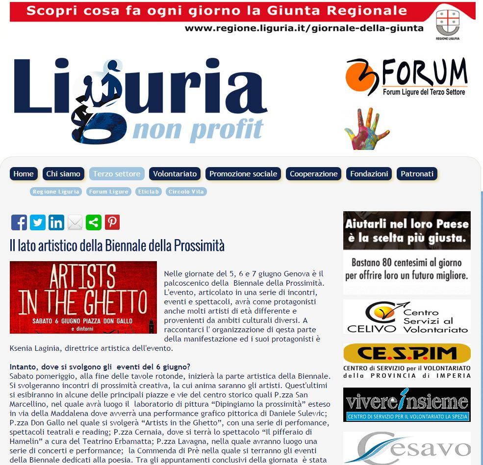 4 Giugno - Articolo sulla Biennale su Liguria Non Profit