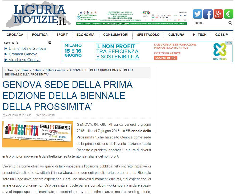 4 Giugno - Articolo sulla Biennale su Liguria Notizie