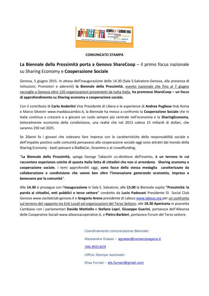 5 Giugno - La Biennale della Prossimità porta a Genova ShareCoop – il primo focus nazionale su Sharing Economy e Cooperazione Sociale